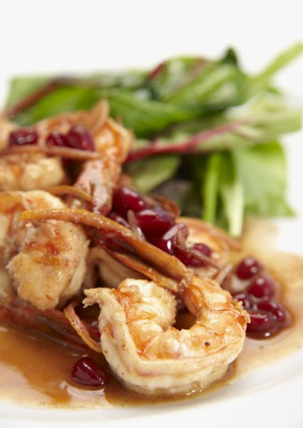 Sauteed Prawns In Pomegranate And Lemon-Zest